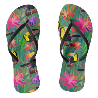 TROPICAL PAINTED TOUCAN BIRD AND FLOWERS THONGS