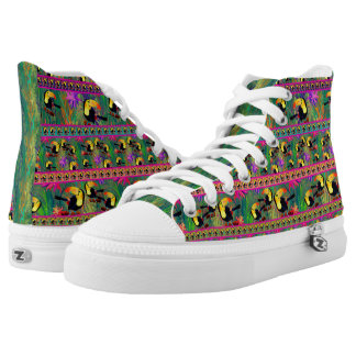 TROPICAL PAINTED TOUCAN BIRD STRIPES HIGH TOPS