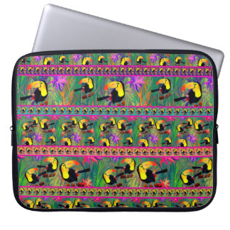 TROPICAL PAINTED TOUCAN BIRD STRIPES LAPTOP SLEEVE