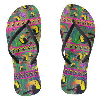 TROPICAL PAINTED TOUCAN BIRD STRIPES THONGS