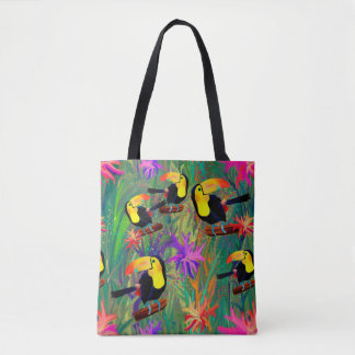 TROPICAL PAINTED TOUCAN BIRD TOTE BAG