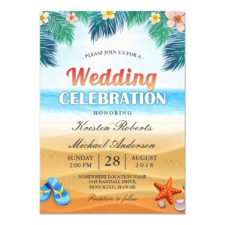 Tropical Palm Beach Summer Wedding Celebration 13 Cm X 18 Cm Invitation Card