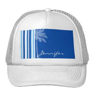Tropical Palm; Blue & White Stripes Mesh Hat
