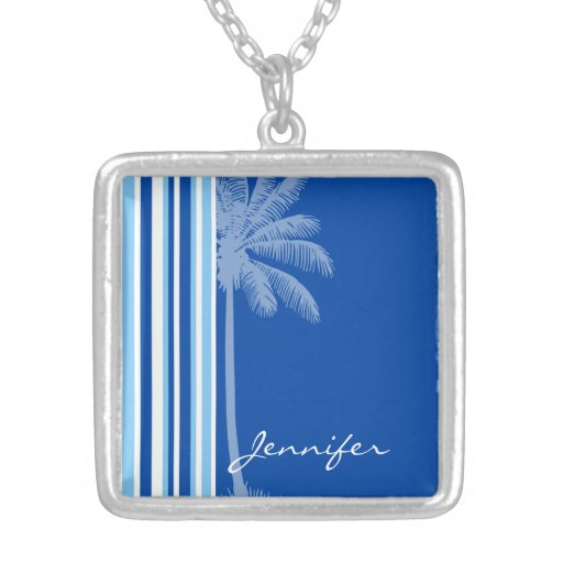 Tropical Palm; Blue & White Stripes Necklace