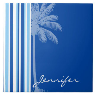 Tropical Palm; Blue & White Stripes Ceramic Tiles