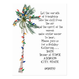Tropical Palm Christmas Tree Holiday Party Invite Postcard