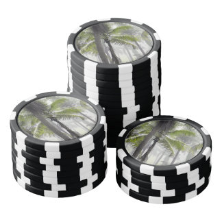 Tropical palm forest poker chips