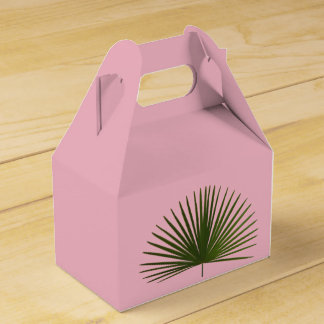 Tropical Palm Frond Leaf Pink Wedding Favour Box
