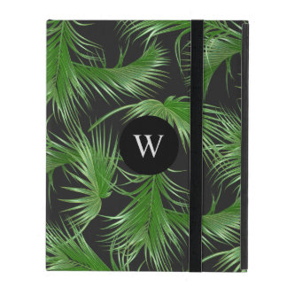 Tropical Palm Fronds Pattern with Monogram iPad Folio Case