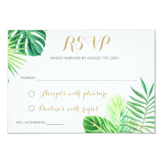 Tropical Palm Leaf Beach RSVP Respond Card