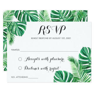 Tropical Palm Leaf Beach RSVP Respond Card