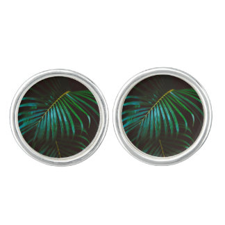 Tropical Palm Leaf Calm Green Minimalistic Cuff Links