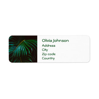 Tropical Palm Leaf Calm Green Minimalistic Return Address Label