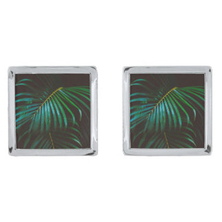 Tropical Palm Leaf Calm Green Minimalistic Silver Finish Cufflinks
