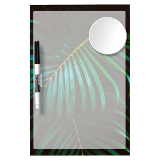 Tropical Palm Leaf Calming Green, Meditative Dry Erase Board With Mirror
