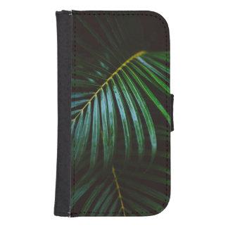 Tropical Palm Leaf Calming Green, Meditative Samsung S4 Wallet Case