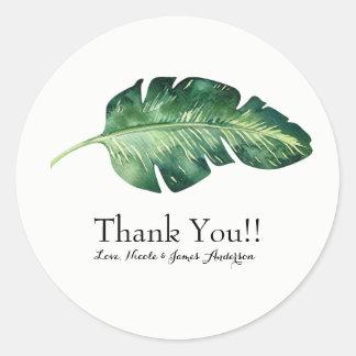 Tropical Palm Leaf Elegant Chic Wedding Favor Classic Round Sticker
