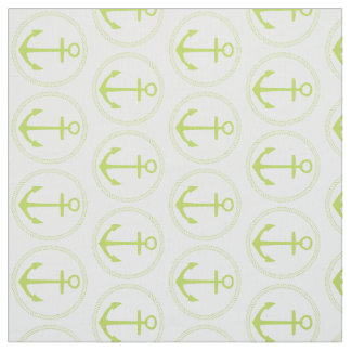 Tropical Palm Leaf Green Anchors and Rope on White Fabric