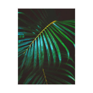 Tropical Palm Leaf Green Relaxing Meditative Canvas Print