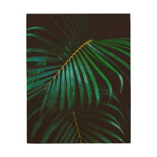 Tropical Palm Leaf Green Relaxing Meditative Wood Print
