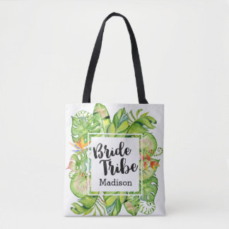 Tropical Palm Leaf Island Bride Tribe Monogram Tote Bag