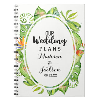 Tropical Palm Leaf Island Wreath Wedding Planner Notebooks