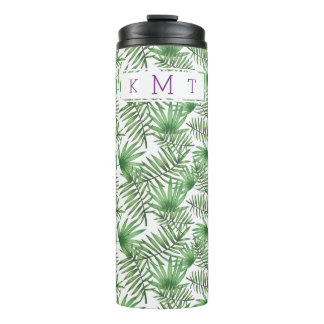 Tropical Palm Leaf Pattern Purple Monogram Thermal Tumbler