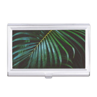 Tropical Palm Leaf Relaxing Green Calming Business Card Holder