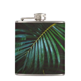 Tropical Palm Leaf Relaxing Green Meditative Hip Flask