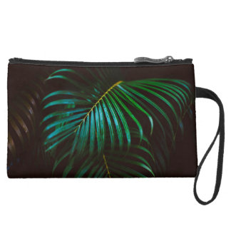 Tropical Palm Leaf Relaxing Green Meditative Suede Wristlet