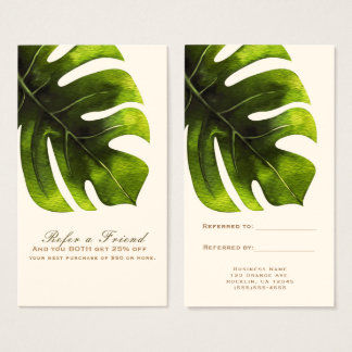 Tropical Palm Leaf Summer Elegant Refer a Friend Business Card