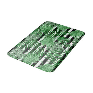 Tropical Palm Leafs Black White Stripes Pattern Bath Mat
