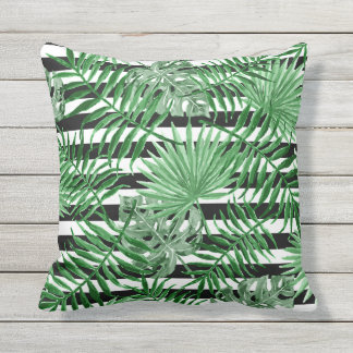 Tropical Palm Leafs Black White Stripes Pattern Cushion