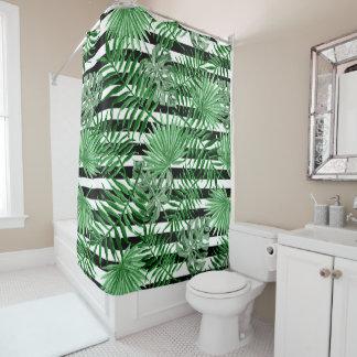 Tropical Palm Leafs Black White Stripes Pattern Shower Curtain