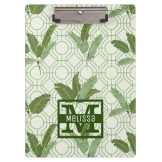 Tropical Palm Leaves | Add Your Name Clipboard