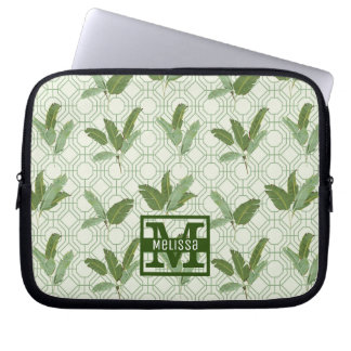Tropical Palm Leaves | Add Your Name Laptop Sleeves