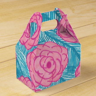 Tropical Palm Leaves and Flowers Favour Box