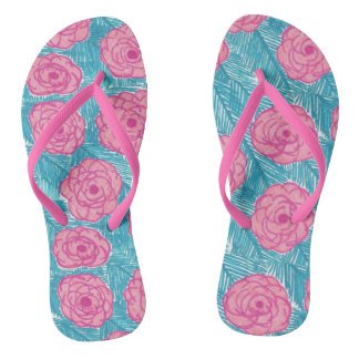 Tropical Palm Leaves and Flowers Flipflops