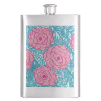 Tropical Palm Leaves and Flowers Hip Flask