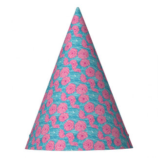 Tropical Palm Leaves and Flowers Party Hat