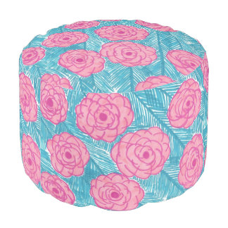 Tropical Palm Leaves and Flowers Pouf