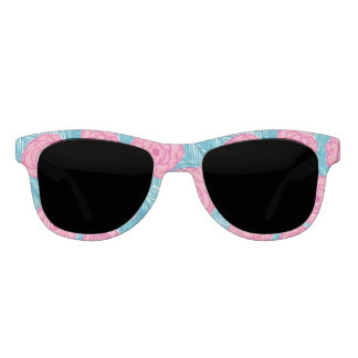 Tropical Palm Leaves and Flowers Sunglasses
