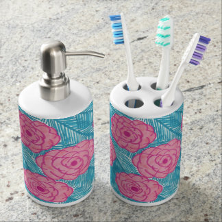 Tropical Palm Leaves and Flowers Tootbrush Holder