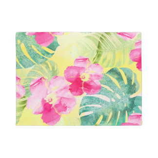 Tropical Palm Leaves and Pink Hibiscus Flowers Doormat