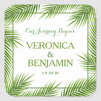 Tropical Palm Leaves Beach Wedding Square Sticker