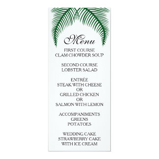 Tropical Palm Leaves Menu 10 Cm X 24 Cm Invitation Card