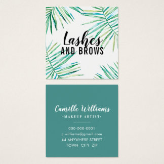TROPICAL PALM LEAVES modern watercolor botanical Square Business Card