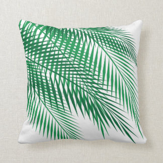 Tropical Palm Leaves on White Cushion