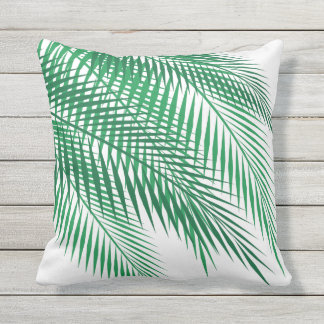 Tropical Palm Leaves on White - Outdoor Cushion