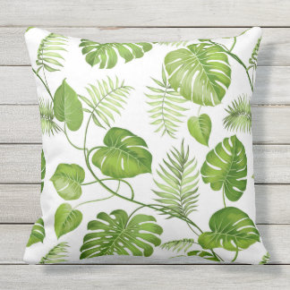 Tropical Palm Leaves Outdoor Cushion